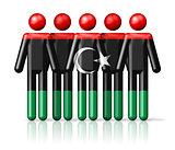 Flag of Libya on stick figure
