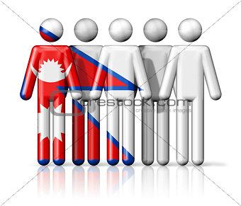 Flag of Nepal on stick figure