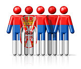 Flag of Serbia on stick figure