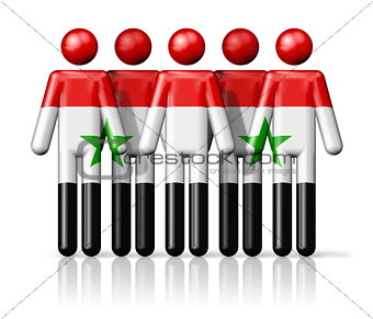 Flag of Syria on stick figure