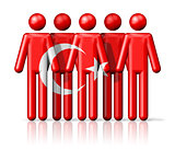Flag of Turkey on stick figure