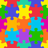 Vector jigsaw puzzle seamless pattern