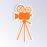 Retro movie camera icon