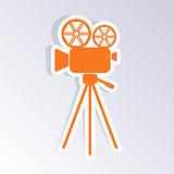 Retro movie camera icon