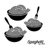 Spaghetti or noodle icons