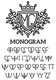 heraldic template monogram with the bilateral alphabet
