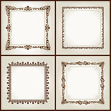Vector vintage retro frames ornament label