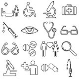 Collection flat icons with long shadow. Medicine symbols. Vector