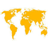 Silhouette World Map. Vector illustration.