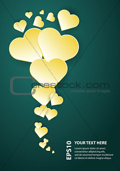 abstract flying yellow hearts background