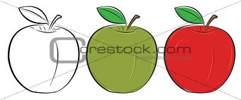 Green, red and outlined apple