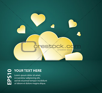 Card template with abstract hearts