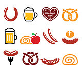 German, Octoberfest food - sausage, curry wurst, beer, pretzel, apple strudel