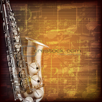 abstract grunge music background with saxophone
