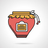 Red jam jar flat vector icon