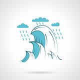 Sea waves flat vector icon