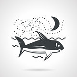 Swimming shark black vector icon