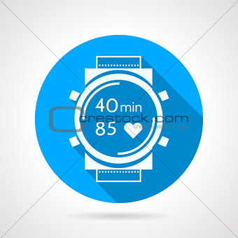 Fitness watch flat round vector icon