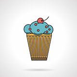 Berry muffin flat vector icon