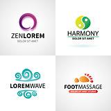 Set of natural spa yoga wellness meditation massage logo elements vector