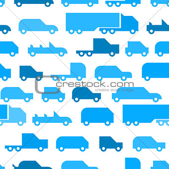 Flat with simple little cars vector seamless pattern