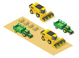 Vector isometric farm vehicles set