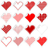 Collection of cute hearts stickers with twisted corner
