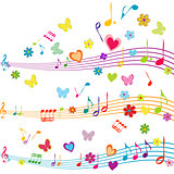 Colorful music design with stave, butterflies, hearts and flower