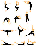 Set of twelve abstract female yoga figures
