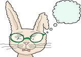 Isolated Sobbing Rabbit with Glasses