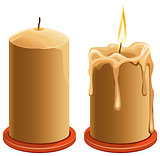 New and burning wax candle