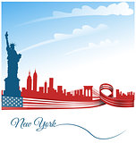 new york city background on usa flag