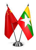 China and Myanmar - Miniature Flags.