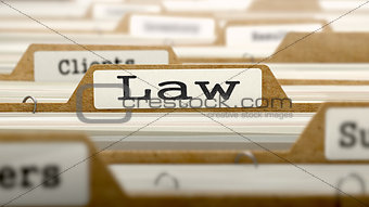 Law Concept with Word on Folder.