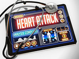 Heart Attack on the Display of Medical Tablet.