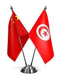 China and Tunisia - Miniature Flags.
