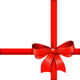 Red gift bow with ribbons.
