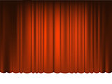 Red Draped Theater. Vector