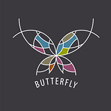 vector logo schematic butterfly with color inserts