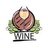 vector logo white wine barrel and the vine