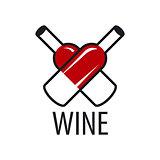 vector logo wine bottles in the form of heart