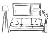 couch and blank picture frames, vector mockup