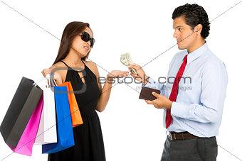 Asian Wife Shopping Demanding More Cash  Husband