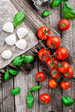 Cherry tomatoes, basil leaves, mozzarella cheese