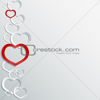 Abstract 3D paper hearts background with place for text.