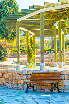Beautiful wooden gazebo in the empty park