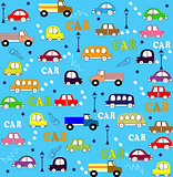 Vector seamless pattern trucks, buses and cars