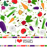 Recipe card template with text space surrounded by fresh vegetables