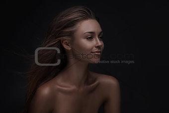 beautiful woman face with natural makeup