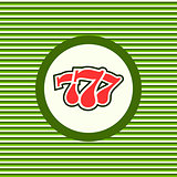 Casino three sevens color flat icon